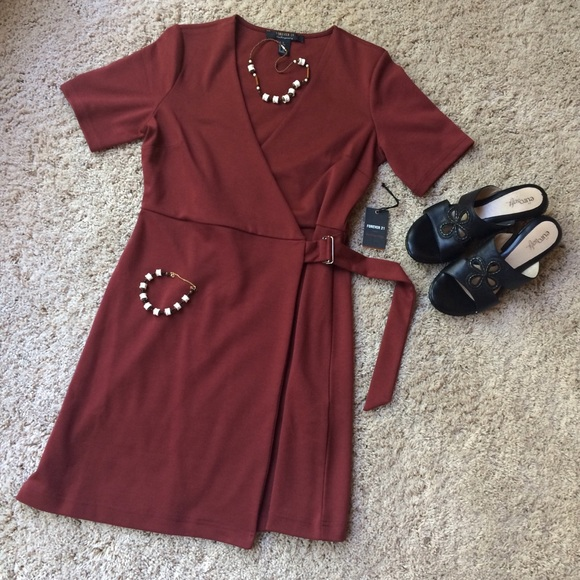 Forever 21 Dresses & Skirts - Forever 21 Contemporary Short Le Rust Wrap Dress